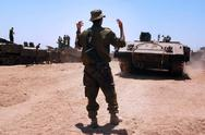 Stock Photo of idf forces tanks and armed vehicles outside gaza strip