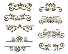 vintage floral motifs - stock illustration