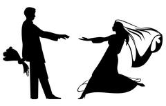 Bride and groom silhouettes Stock Illustration