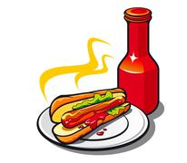 appetizing hotdog with ketchup - stock illustration