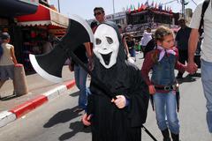 purim celebration - adloyada parade in israel - stock photo