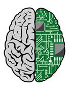 brain and motherboard - stock illustration