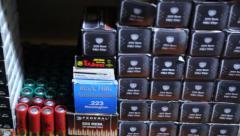 Boxes of Pistol, Rifle, Shotgun Ammunition Stock Footage