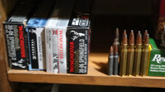Boxes of Various Caliber Ammunition Stock Footage