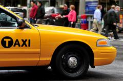 yellow taxicabs in manhattan new york city - stock photo
