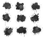 Stock Illustration of black ink blobs
