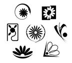 Stock Illustration of set of flowers icons