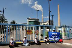 greenpeace blocks entry to power station in south israel - stock photo