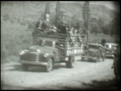 1888 Caravan of cars and trucks Stock Footage