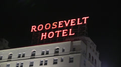 Roosevelt Hotel Neon Sign at Night - stock footage