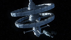 Space Freighter Docked At Space Station Stock Footage