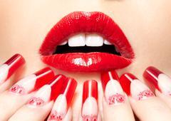 Acrylic nails manicure Stock Photos