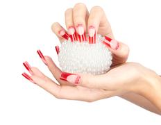 acrylic nails manicure - stock photo