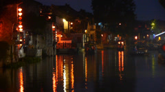 Traditional Chinese houses in XiTang Water Town at night,shanghai,China. Stock Footage
