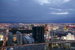 Las vegas, feb 2: an aerial view of las vegas strip in the sunset on february Stock Photos