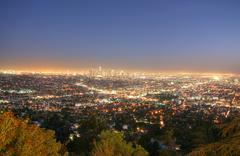 Los Angeles, Kalifornia horisonttiin hämärässä Kuvituskuvat