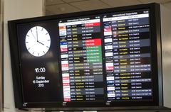 Auckland international airport departures board Stock Photos