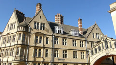 Hertford Bridge spanning over Hertford College and New College Lane, Oxford, UK Stock Footage