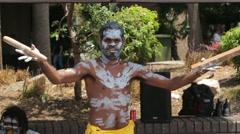 australian street entertainer, circular quay, sydney, australia - stock footage