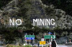 Ei kaivos protesti Uudessa-Seelannissa Kuvituskuvat
