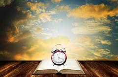 Stock Photo of time to reading book concept with nice sky background