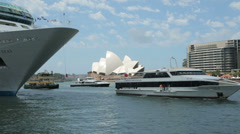 Ferries passes opera house and cruise ship, sydney, Australia Stock Footage