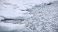 Icy waves rolling up on shore Stock Footage