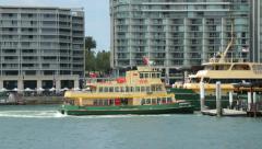 Ferry reverses out of circular quay, sydney, australia Stock Footage