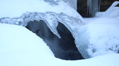 Waterfall through a hole in the ice Stock Footage