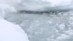Icy waves on shore closeup Stock Footage