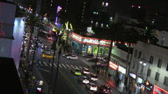 Intersection of Hollywood and Highland at Night Stock Footage