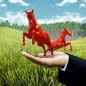 Stock Illustration of animal farm business concept, investor carry red horse on filed