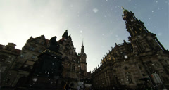 Cathedral Holy Trinity and Dresden Gastle at winter - stock footage