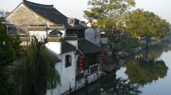 Traditional Chinese houses in XiTang Water Town,in the morning,shanghai,China. Stock Footage