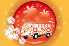 retro bus with floral patterns - stock illustration - stock illustration