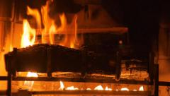 Fire Place Yule Log CU Stock Footage