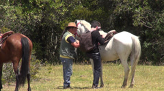 Dismount, Horseback Riding, Horses, Animals Stock Footage