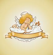 Love angel cupid for valentine's day Stock Illustration