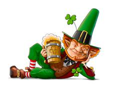 elf leprechaun with beer for saint patrick's day - stock illustration