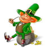 elf leprechaun smoking pipe for saint patrick's day - stock illustration