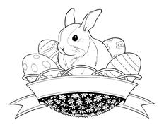 Easter bunny rabbit in basket with eggs Stock Illustration