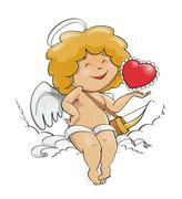 Angel cupid for valentine's day Stock Illustration