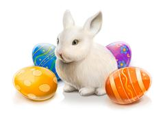 Easter rabbit with colored eggs - stock illustration