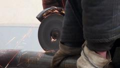 Cutting metal pipe Electrical tools sparks fire Stock Footage