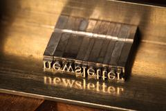 """Composing stick with the letters """"newsletter"""" Stock Photos"""