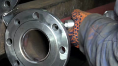 Flange bolts metal pipe plumbing Works - stock footage