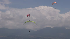 Three Parasails, Triplets, Trio, Paragliding, Sky Diving Stock Footage
