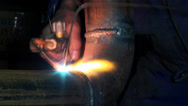 Stock Video Footage of Gas welding metal fire pipe plant