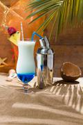 blue curacao cocktail with slice of ananas - stock photo