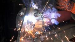 Gas welding metal fire pipe plant Stock Footage